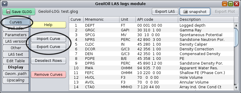 Merging LAS file curves with GeolOil Software