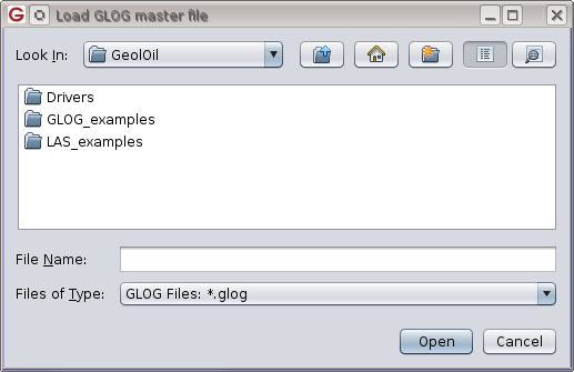 GeolOil file chooser window