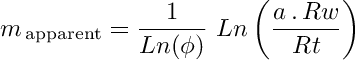 Apparent cementation exponent equation